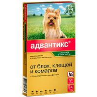BAYER ADVANTIX ДЛЯ СОБАК ОТ БЛОХ, КЛЕЩЕЙ, КОМАРОВ 40 (ДО 4КГ ВЕСА)