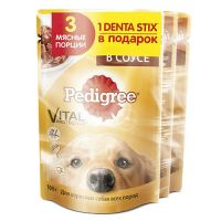 КОРМ ДЛЯ СОБАК PEDIGREE 3+DENTA STIX КОНС.ПАУЧ 326Г ПРОМО