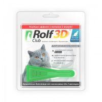 RolfClub 3D капли от клещей и блох для кошек более 4 кг